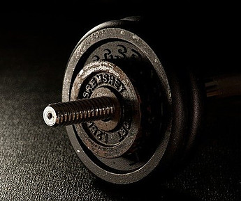 a metal dumbbell